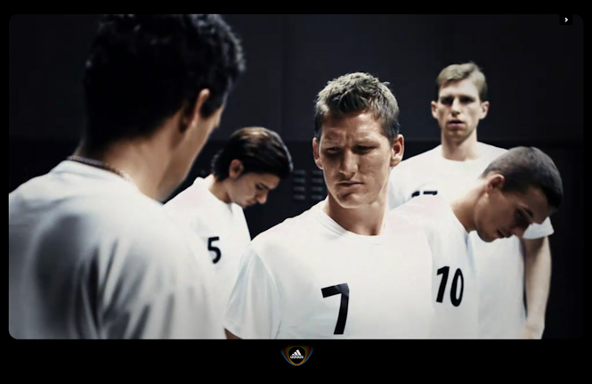 Adidas Teamgeist by North Kingdom for Adidas Football Germany and World Cup 2010 in South Africa. Featuring Michael Ballack, Lukas Podolski, Bastian Schweinsteiger and Philipp Lahm.